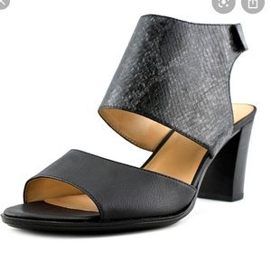 Naturalizer Black Snake Skin Open Toe Block Heel